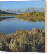 Reflections At Oxbow Bend Wood Print