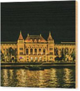 Reflections From Budapest University Wood Print