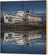 Reflections From The Duke Of Lancaster Ship  Wood Print
