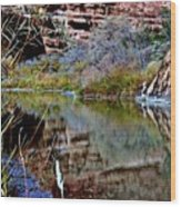 Reflections In Desert River Canyon Wood Print