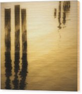 Reflections In Gold Wood Print