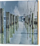 Reflections In The Marina Wood Print