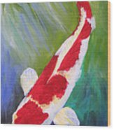 Reflections Koi Wood Print