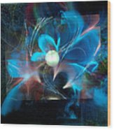 Reflections Of A Flower In The Moonlight Wood Print