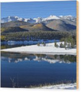 Reflections Of Pikes Peak In Crystal Reservoir Wood Print