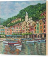 Reflections Of Portofino Wood Print by Charlotte Blanchard