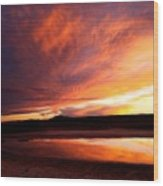 Reflections Of Red Sky Wood Print