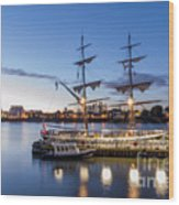 Reflections Of Tall Ships Wood Print