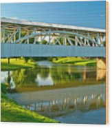 Reflections Of The Halls Mill Covered Bridge Wood Print