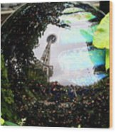 Reflections Of The Space Needle Wood Print