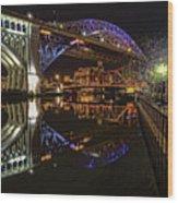 Reflections Of Veterans Memorial Bridge  Wood Print