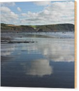 Reflections Of Widemouth Bay Wood Print