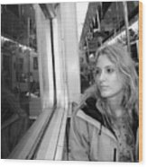 Reflections On A London Train Wood Print