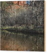 Reflections On Cathedral Rock Wood Print
