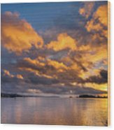 Reflections On Fire Sunset Wood Print