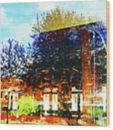 Reflections On The Old Depot Wood Print