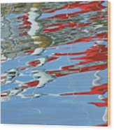 Reflections - Red White Blue Wood Print