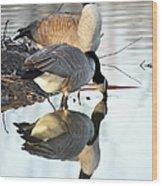 Reflective Geese Wood Print