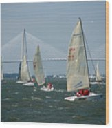 Regatta In Charleston Harbor Wood Print