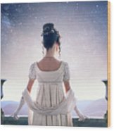 Regency Woman Looking At The Stars In The Night Sky  Wood Print