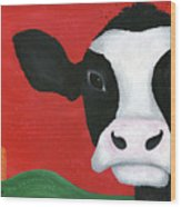 Regina The Happy Cow Wood Print by Kristi L Randall