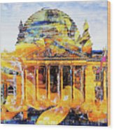 Reichstag And Flower Wood Print