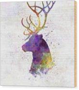 Reindeer 01 In Watercolor Wood Print