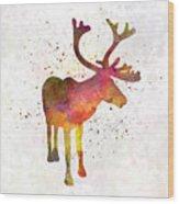 Reindeer 02 In Watercolor Wood Print