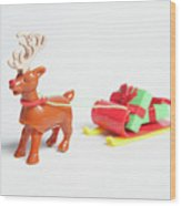reindeer and Sleigh ii Wood Print