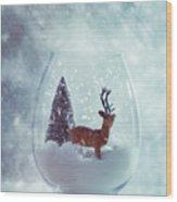 Reindeer In Glass Snow Globe  Wood Print