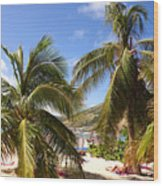 Relaxing On The Beach. Pinel Island Saint Martin Caribbean Wood Print