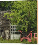 Remains Of An Old Tow Truck And Garage Wood Print