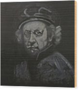 Rembrandt Black And White Wood Print