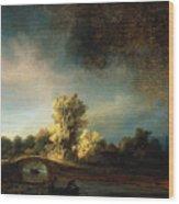 Rembrandt Landscape Paintings - The Stone Bridge Wood Print