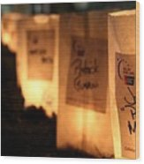 Rememberance Of Life - Luminaries At Relay Wood Print
