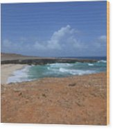 Remote Daimari Beach With Waves Rolling Ashore Wood Print