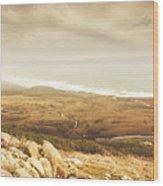 Remote Roads And Foggy Coastlines Wood Print