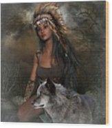 Rena Indian Warrior Princess Wood Print