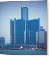 Gm Renaissance Center In Downtown Detroit, Michigan Wood Print