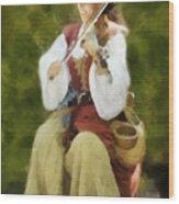Renaissance Fiddler Lady Wood Print