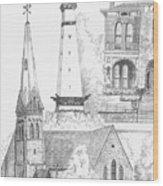 Rendering Of Indianapolis Landmarks  Wood Print