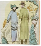 Rendezvous, Outfit And Ulster Overcoat  Wood Print