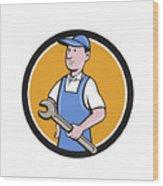 Repairman Holding Spanner Circle Cartoon  Wood Print