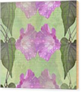 Repeated Morning Glories Wood Print