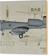 Republic A-10 Thunderbolt II - Profile Art Wood Print