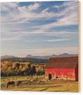 Red Barn Autumn Landscape Wood Print