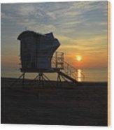 Rescue Tower Sunrise Wood Print