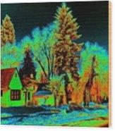 Residential Spokane In Cosmic Winter Wood Print