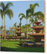 Resort Fountains Wood Print