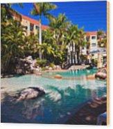 Resort Pool Wood Print